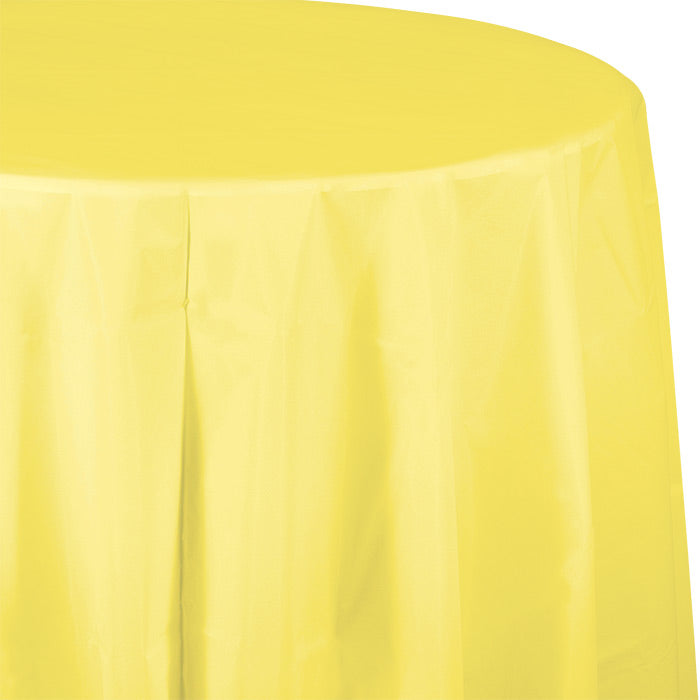 "Mimosa Tablecover, Octy Round 82"" Plastic by Creative Converting"