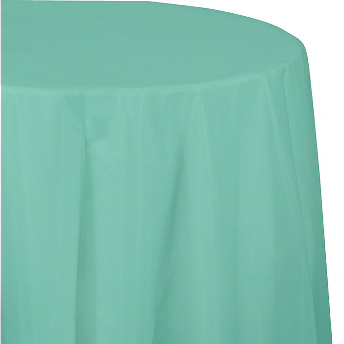 "Fresh Mint Tablecover, Octy Round 82"" Plastic by Creative Converting"