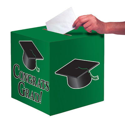 "Graduation Card Box, Grad, 9"" Green by Creative Converting"