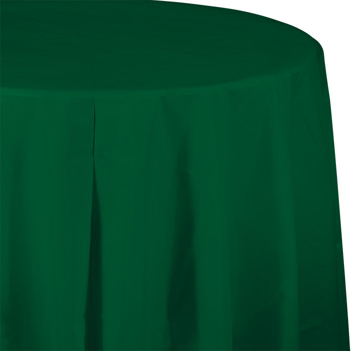 "Hunter Green Tablecover, Octy Round 82"" Plastic by Creative Converting"