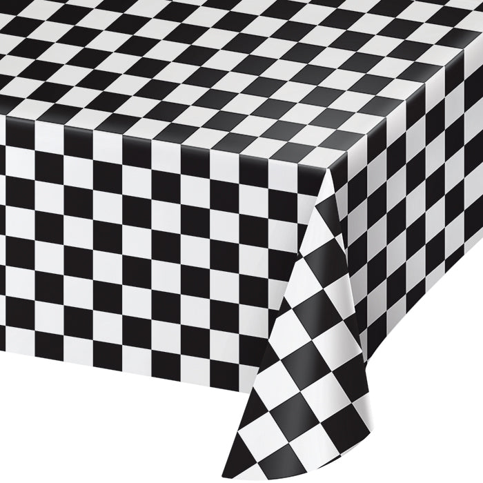 "Black Check Tablecover Plastic 54"" X 108"" by Creative Converting"