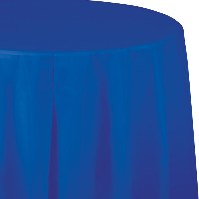 "Cobalt Tablecover, Octy Round 82"" Plastic by Creative Converting"
