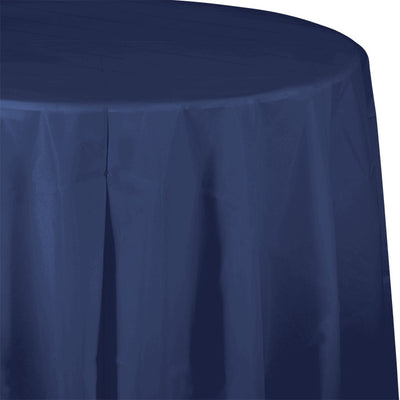 "Navy Tablecover, Octy Round 82"" Plastic by Creative Converting"