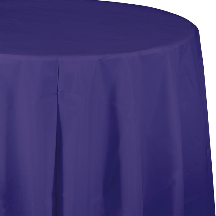 "Purple Tablecover, Octy Round 82"" Plastic by Creative Converting"