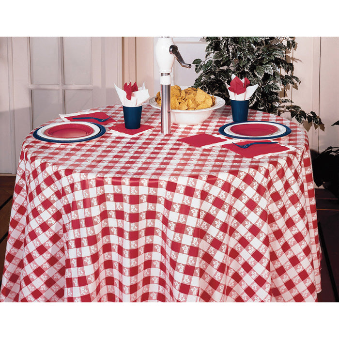 "Red Gingham Tablecover, Octy Round 82"" Plastic by Creative Converting"