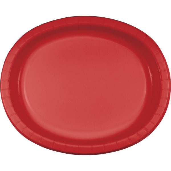 "Classic Red Oval Platter 10"" X 12"", 8 ct by Creative Converting"