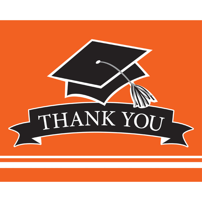 Graduation School Spirit Orange Thank You Notes, 25 ct by Creative Converting