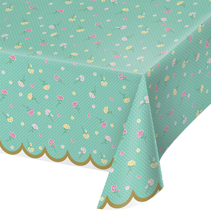 "Floral Tea Party Plastic Tablecover All Over Print, 54"" X 102"" by Creative Converting"