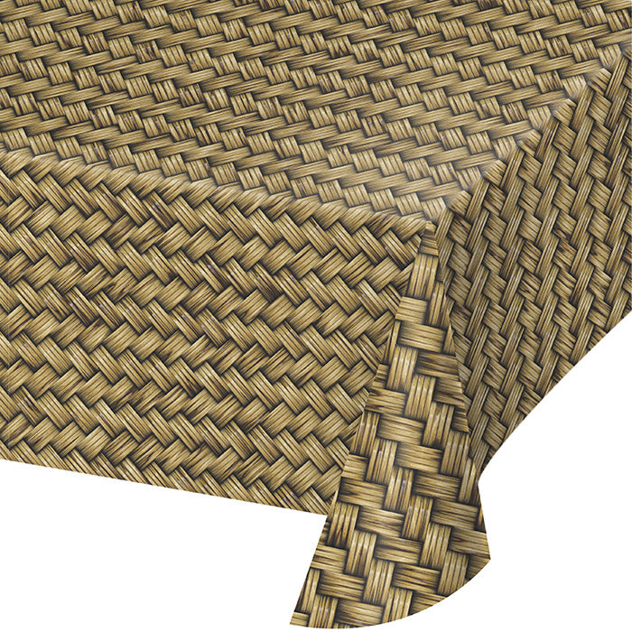 "Basket Weave Plastic Tablecloth, 54"" X 108"" by Creative Converting"