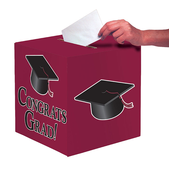 "Graduation Card Box, Grad, 9"" Burgundy by Creative Converting"