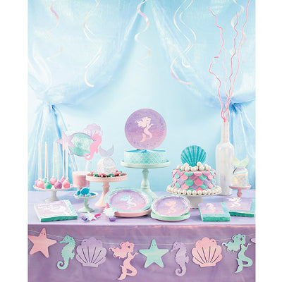 "Mermaid Shine Plastic Tablecover All Over Print, 54"" X 102"" Party Supplies"