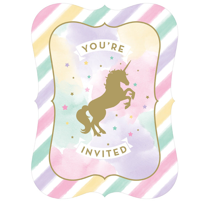 Unicorn Sparkle Invitation Postcard, 8 ct by Creative Converting