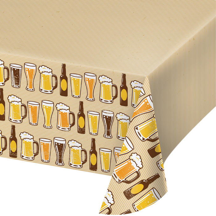 "Cheers & Beers Plastic Tablecover All Over Print, 54"" X 102"" by Creative Converting"