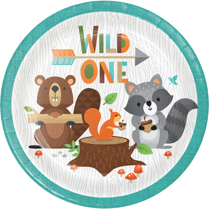 Wild One Woodland Dessert Plates, Pack Of 8 by Creative Converting