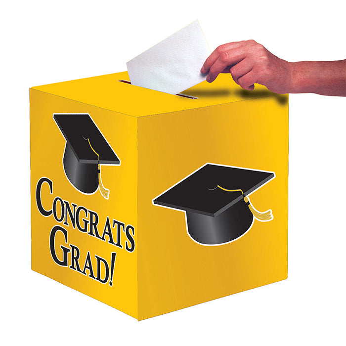"Graduation Card Box, Grad, 9"" Yellow by Creative Converting"
