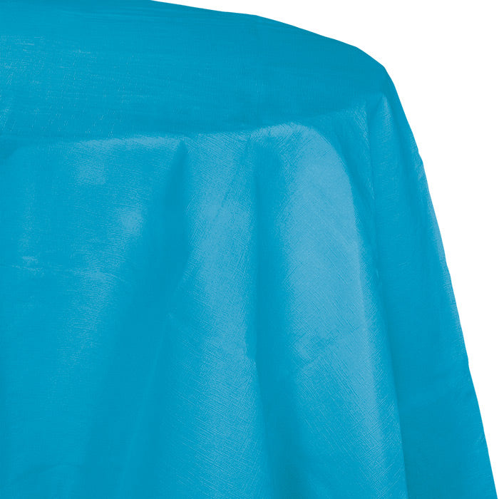"Turquoise Tablecover, Octy Round 82"" Polylined Tissue by Creative Converting"