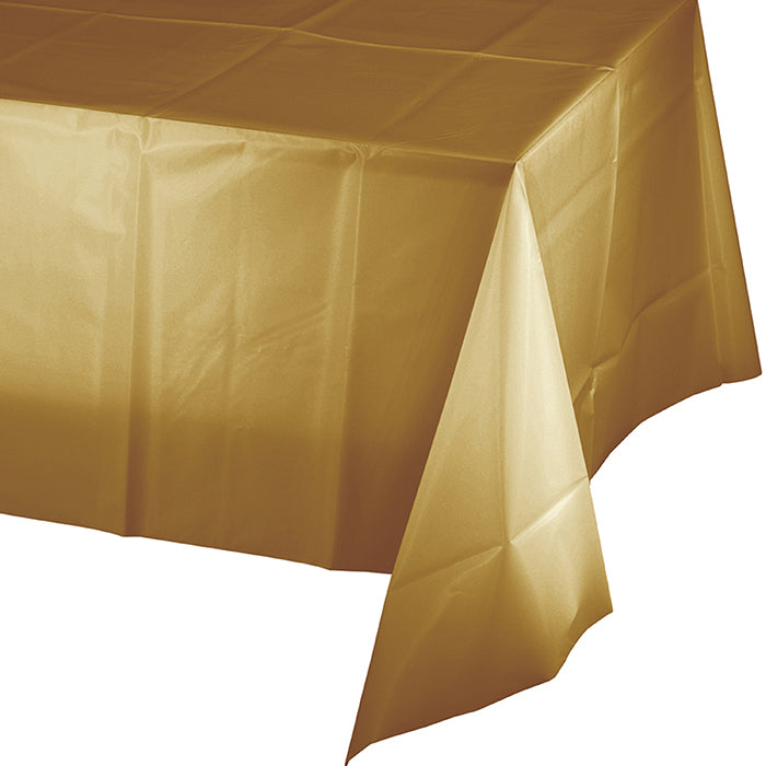 "Glittering Gold Plastic Tablecover 54"" X 108"" by Creative Converting"