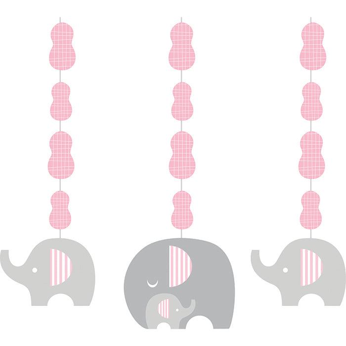 Little Peanut Girl Elephant Hanging Cutouts, 3 ct by Creative Converting