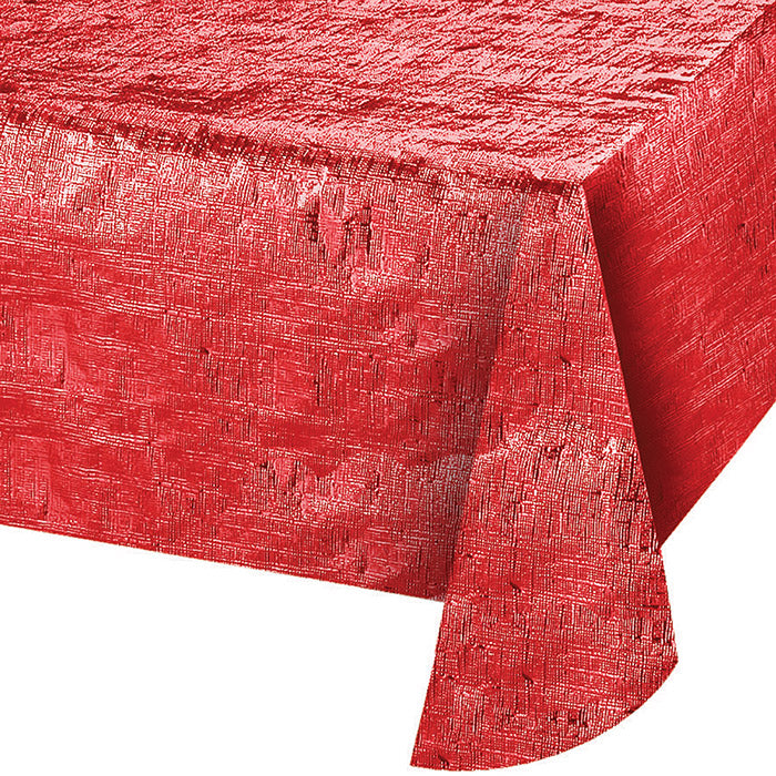 "Metallic Red Tablecloth, 54"" X 108"" by Creative Converting"