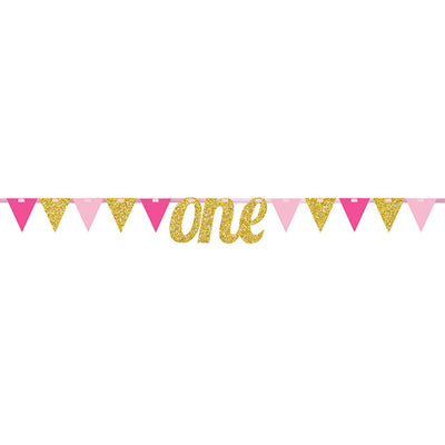 1st Birthday Girl Pennant Banner by Creative Converting