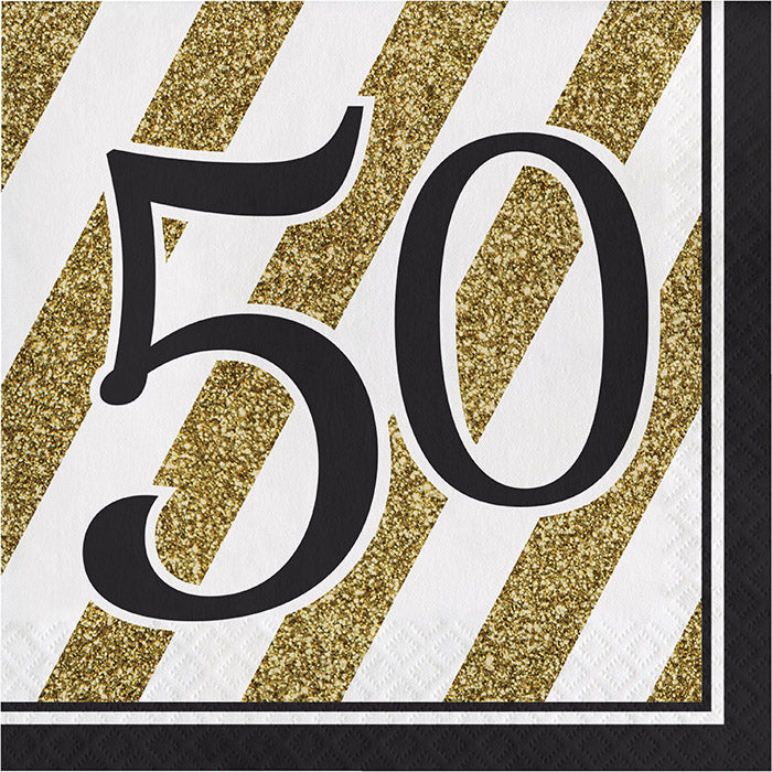 Black And Gold 50th Birthday Napkins, 16 ct by Creative Converting