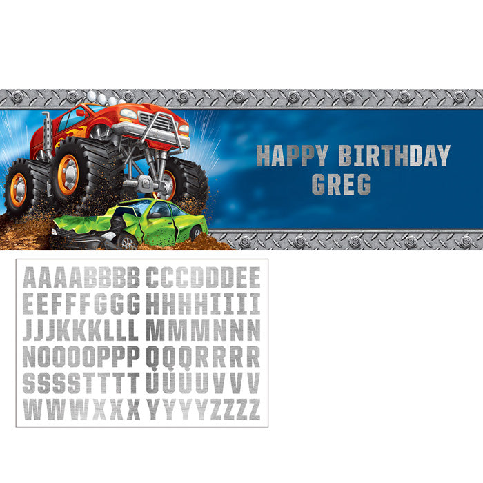 Monster Truck Rally Giant Party Banner With Stickers by Creative Converting