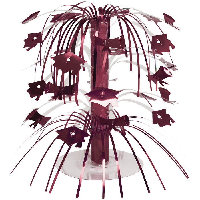 Burgundy Red Mortarboard Graduation Centerpiece by Creative Converting