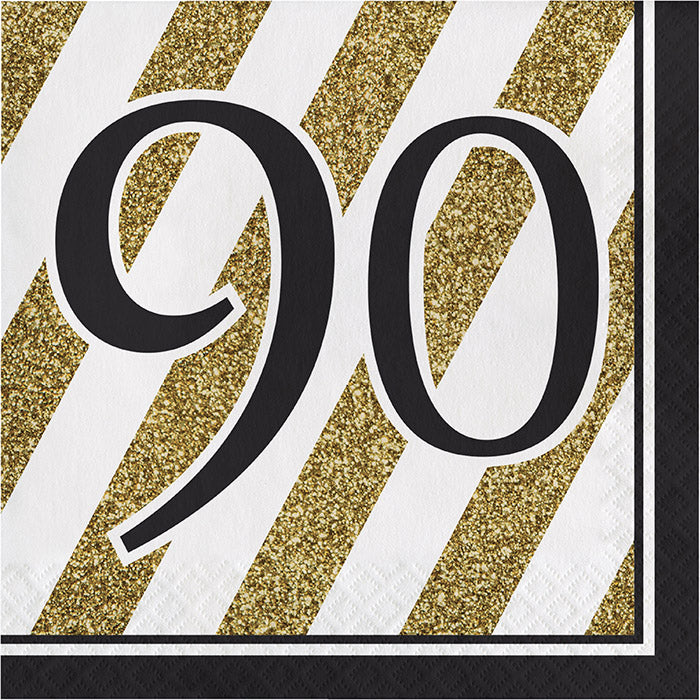 Black And Gold 90th Birthday Napkins, 16 ct by Creative Converting