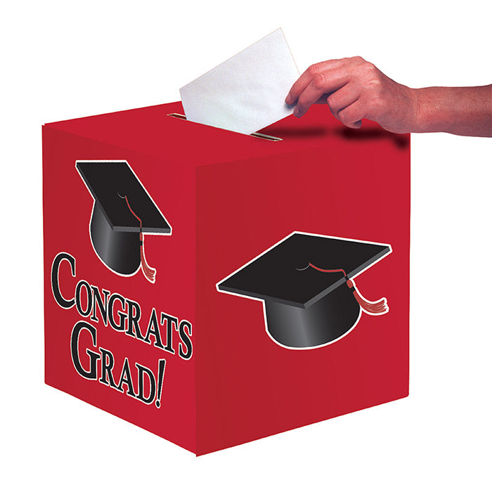 "Graduation Card Box, Grad, 9"" Red by Creative Converting"