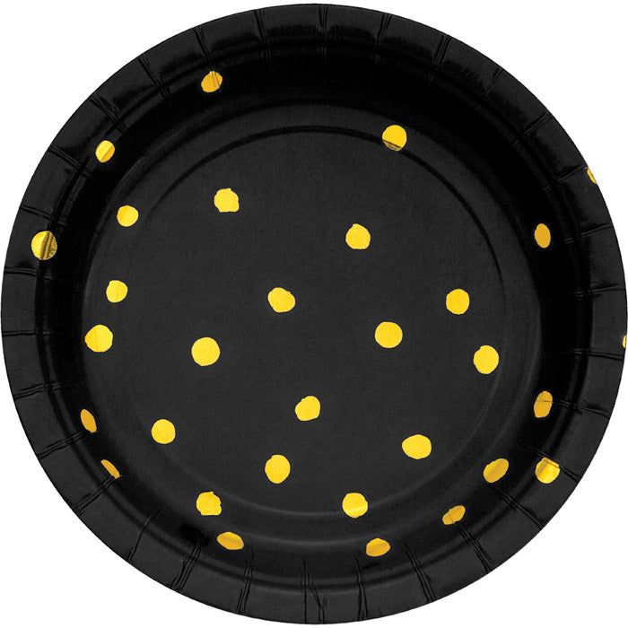 Black And Gold Foil Dot Dessert Plates, 8 ct by Creative Converting