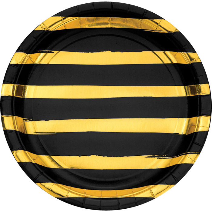 Black And Gold Foil Striped Paper Plates, 8 ct by Creative Converting