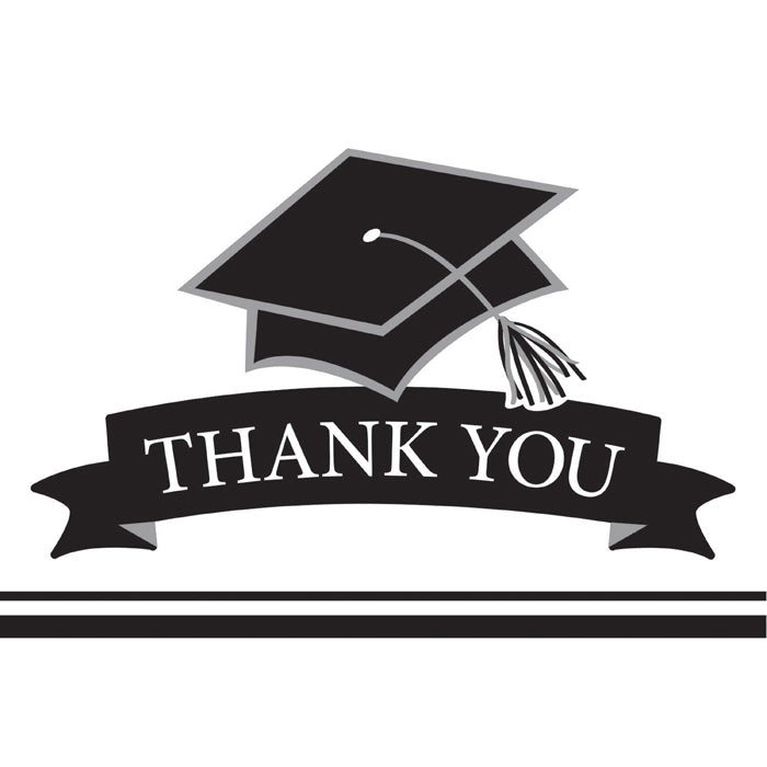 Graduation School Spirit White Thank You Notes, 25 ct by Creative Converting