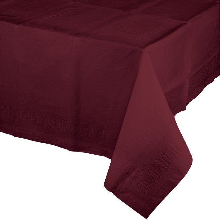 "Burgundy Tablecover 54""X 108"" Polylined Tissue by Creative Converting"