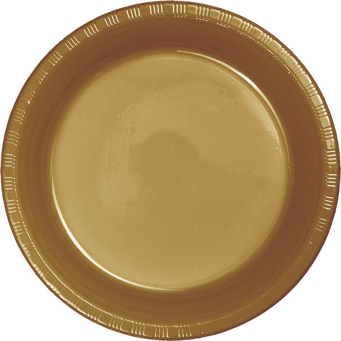 Glittering Gold Plastic Banquet Plates, 20 ct by Creative Converting