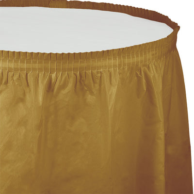 "Glittering Gold Plastic Tableskirt, 14' X 29"" by Creative Converting"