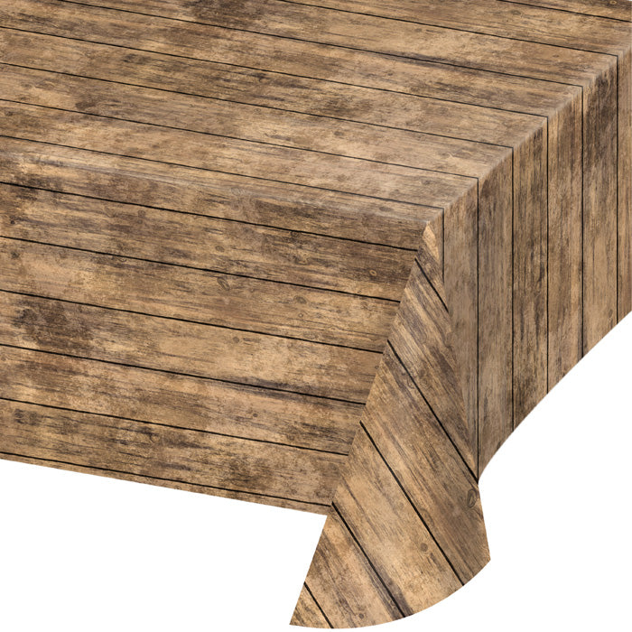 "Wood Grain Plastic Tablecloth, 54"" X 108"" by Creative Converting"