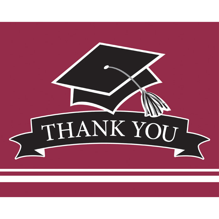 Graduation School Spirit Burgundy Red Thank You Notes, 25 ct by Creative Converting