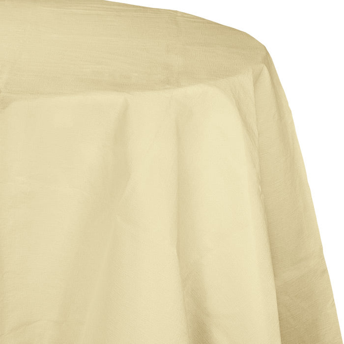"Ivory Tablecover, Octy Round 82"" Polylined Tissue by Creative Converting"