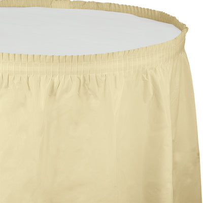 "Ivory Plastic Tableskirt, 14' X 29"" by Creative Converting"