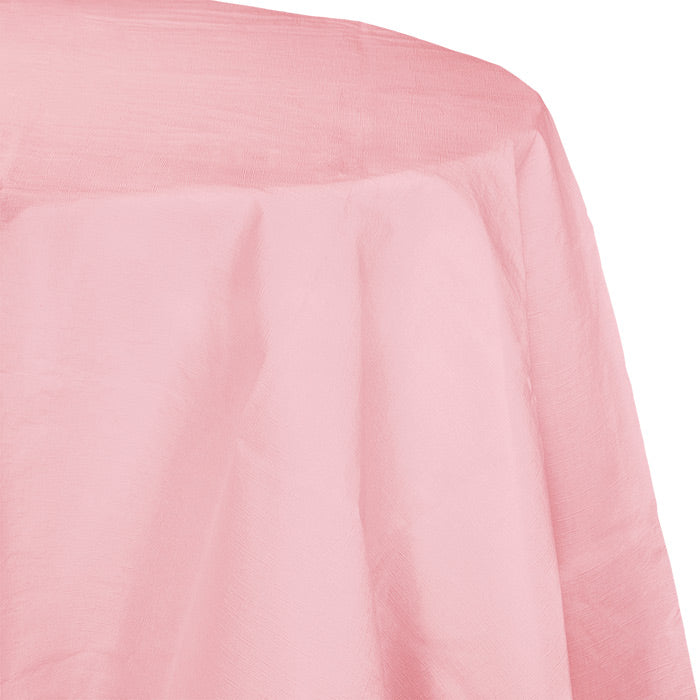 "Classic Pink Tablecover, Octy Round 82"" Polylined Tissue by Creative Converting"