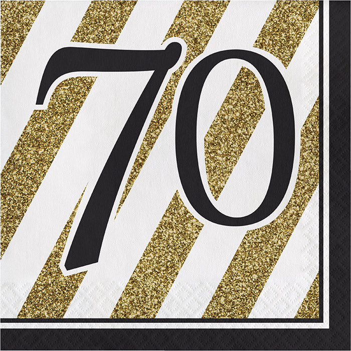 Black And Gold 70th Birthday Napkins, 16 ct by Creative Converting
