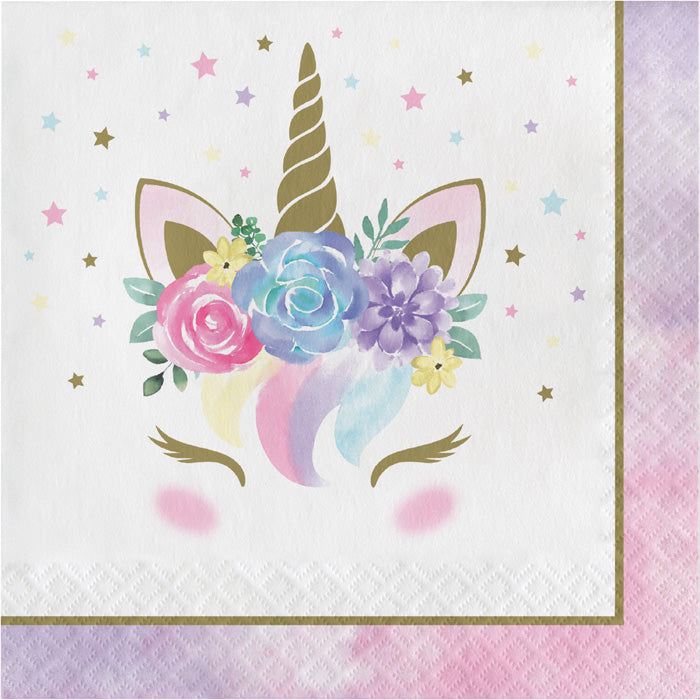 Unicorn Pastel Baby Shower Napkins, Pack Of 16 by Creative Converting