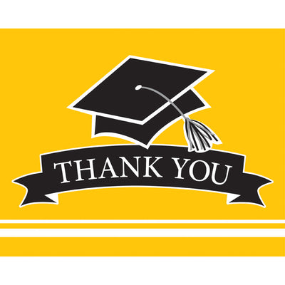 Graduation School Spirit Yellow Thank You Notes, 25 ct by Creative Converting