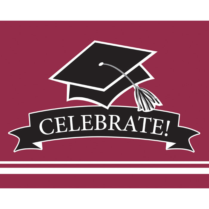 Graduation School Spirit Burgundy Red Invitations, 25 ct by Creative Converting