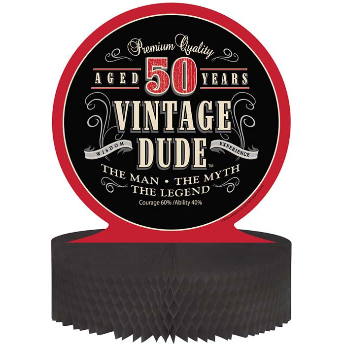 Vintage Dude 50th Birthday Centerpiece by Creative Converting