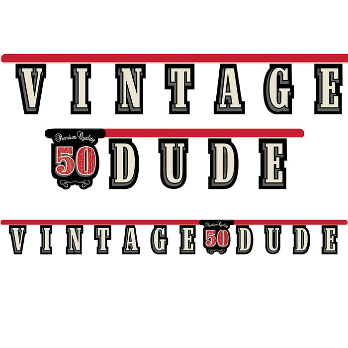 Vintage Dude 50th Birthday Banner by Creative Converting