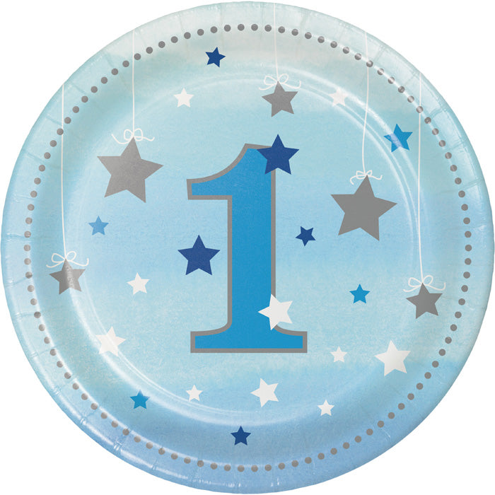 One Little Star Boy 1st Birthday Dessert Plates, 8 ct by Creative Converting