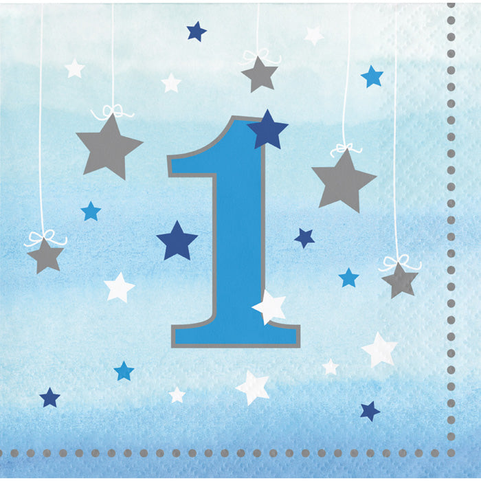 One Little Star Boy 1st Birthday Beverage Napkins, 16 ct by Creative Converting