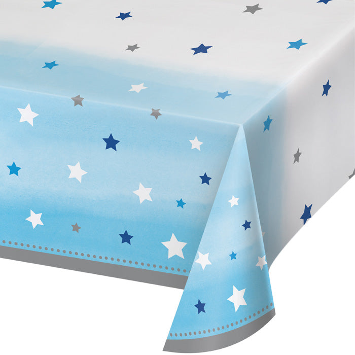 "One Little Star - Boy Plastic Tablecover All Over Print, 54"" X 102"" by Creative Converting"