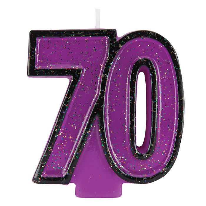 70th Birthday Glitter Candle by Creative Converting